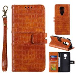 Luxury Crocodile Magnetic Leather Wallet Phone Case for Motorola Moto G7 Play - Brown