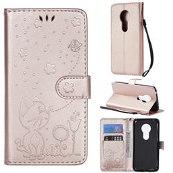 Embossing Bee and Cat Leather Wallet Case for Motorola Moto G7 Play - Rose Gold