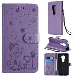 Embossing Bee and Cat Leather Wallet Case for Motorola Moto G7 Play - Purple