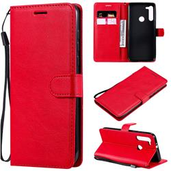 Retro Greek Classic Smooth PU Leather Wallet Phone Case for Motorola Moto G8 - Red