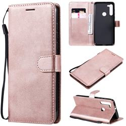 Retro Greek Classic Smooth PU Leather Wallet Phone Case for Motorola Moto G8 - Rose Gold
