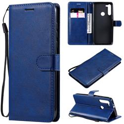 Retro Greek Classic Smooth PU Leather Wallet Phone Case for Motorola Moto G8 - Blue