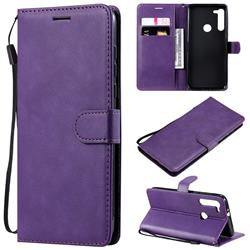 Retro Greek Classic Smooth PU Leather Wallet Phone Case for Motorola Moto G8 - Purple
