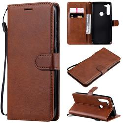 Retro Greek Classic Smooth PU Leather Wallet Phone Case for Motorola Moto G8 - Brown