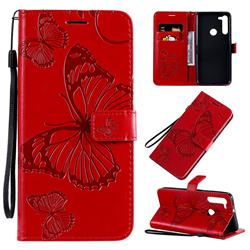 Embossing 3D Butterfly Leather Wallet Case for Motorola Moto G8 - Red