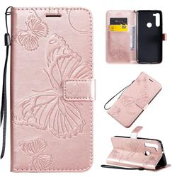 Embossing 3D Butterfly Leather Wallet Case for Motorola Moto G8 - Rose Gold