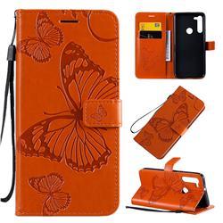 Embossing 3D Butterfly Leather Wallet Case for Motorola Moto G8 - Orange