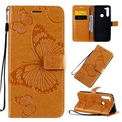 Embossing 3D Butterfly Leather Wallet Case for Motorola Moto G8 - Yellow
