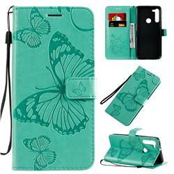 Embossing 3D Butterfly Leather Wallet Case for Motorola Moto G8 - Green
