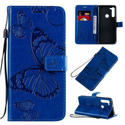 Embossing 3D Butterfly Leather Wallet Case for Motorola Moto G8 - Blue