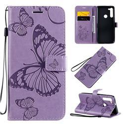 Embossing 3D Butterfly Leather Wallet Case for Motorola Moto G8 - Purple