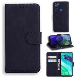 Retro Classic Skin Feel Leather Wallet Phone Case for Motorola Moto G8 - Black