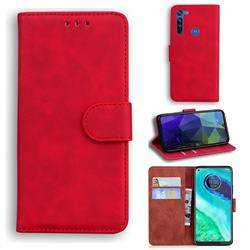 Retro Classic Skin Feel Leather Wallet Phone Case for Motorola Moto G8 - Red