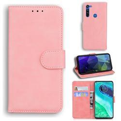 Retro Classic Skin Feel Leather Wallet Phone Case for Motorola Moto G8 - Pink