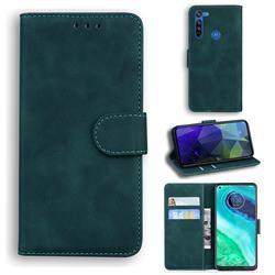 Retro Classic Skin Feel Leather Wallet Phone Case for Motorola Moto G8 - Green