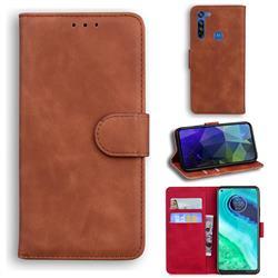 Retro Classic Skin Feel Leather Wallet Phone Case for Motorola Moto G8 - Brown