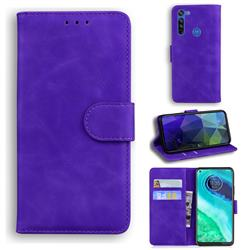 Retro Classic Skin Feel Leather Wallet Phone Case for Motorola Moto G8 - Purple