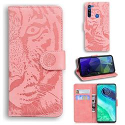 Intricate Embossing Tiger Face Leather Wallet Case for Motorola Moto G8 - Pink