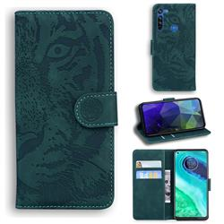 Intricate Embossing Tiger Face Leather Wallet Case for Motorola Moto G8 - Green