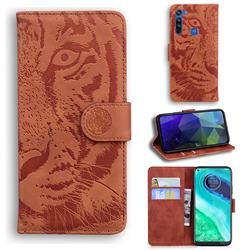 Intricate Embossing Tiger Face Leather Wallet Case for Motorola Moto G8 - Brown
