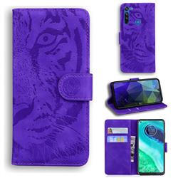 Intricate Embossing Tiger Face Leather Wallet Case for Motorola Moto G8 - Purple