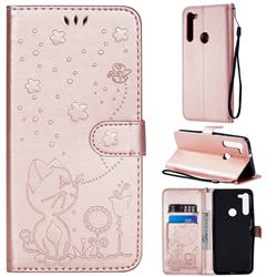 Embossing Bee and Cat Leather Wallet Case for Motorola Moto G8 - Rose Gold