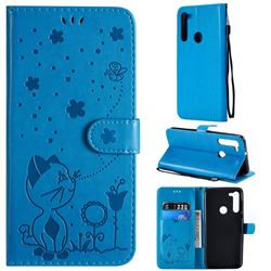 Embossing Bee and Cat Leather Wallet Case for Motorola Moto G8 - Blue
