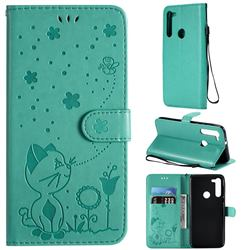 Embossing Bee and Cat Leather Wallet Case for Motorola Moto G8 - Green