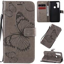 Embossing 3D Butterfly Leather Wallet Case for Motorola Moto G8 Power - Gray