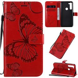 Embossing 3D Butterfly Leather Wallet Case for Motorola Moto G8 Power - Red