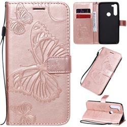 Embossing 3D Butterfly Leather Wallet Case for Motorola Moto G8 Power - Rose Gold