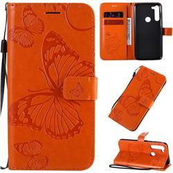 Embossing 3D Butterfly Leather Wallet Case for Motorola Moto G8 Power - Orange