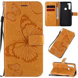 Embossing 3D Butterfly Leather Wallet Case for Motorola Moto G8 Power - Yellow
