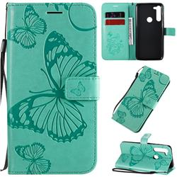 Embossing 3D Butterfly Leather Wallet Case for Motorola Moto G8 Power - Green