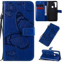 Embossing 3D Butterfly Leather Wallet Case for Motorola Moto G8 Power - Blue