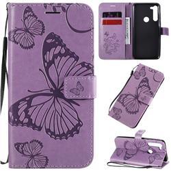 Embossing 3D Butterfly Leather Wallet Case for Motorola Moto G8 Power - Purple