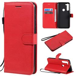 Retro Greek Classic Smooth PU Leather Wallet Phone Case for Motorola Moto G8 Power - Red