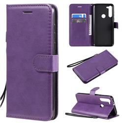 Retro Greek Classic Smooth PU Leather Wallet Phone Case for Motorola Moto G8 Power - Purple