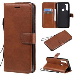 Retro Greek Classic Smooth PU Leather Wallet Phone Case for Motorola Moto G8 Power - Brown