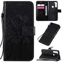 Embossing Butterfly Tree Leather Wallet Case for Motorola Moto G8 Power - Black