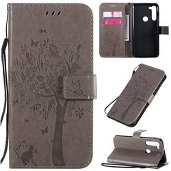 Embossing Butterfly Tree Leather Wallet Case for Motorola Moto G8 Power - Grey