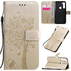 Embossing Butterfly Tree Leather Wallet Case for Motorola Moto G8 Power - Champagne