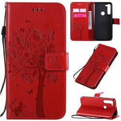 Embossing Butterfly Tree Leather Wallet Case for Motorola Moto G8 Power - Red