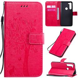 Embossing Butterfly Tree Leather Wallet Case for Motorola Moto G8 Power - Rose