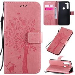 Embossing Butterfly Tree Leather Wallet Case for Motorola Moto G8 Power - Pink