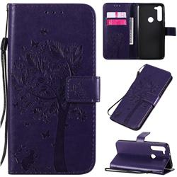 Embossing Butterfly Tree Leather Wallet Case for Motorola Moto G8 Power - Purple