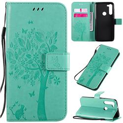 Embossing Butterfly Tree Leather Wallet Case for Motorola Moto G8 Power - Cyan