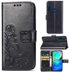 Embossing Imprint Four-Leaf Clover Leather Wallet Case for Motorola Moto G8 Power - Black