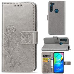 Embossing Imprint Four-Leaf Clover Leather Wallet Case for Motorola Moto G8 Power - Grey