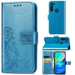 Embossing Imprint Four-Leaf Clover Leather Wallet Case for Motorola Moto G8 Power - Blue